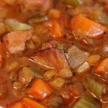Crock pot lentil soup with ham